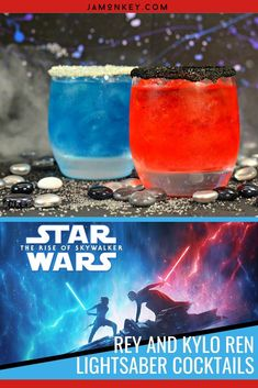 It's Star Wars season and the Force is strong in these drinks! Sip and enjoy these dueling Lightsaber cocktails made to look like Rey and Kylo Ren. #TheRiseofSkywalker Bolo Star Wars, Star Wars Food, Star Wars Cake, Star Wars Gifts, Star Wars Party, Finn Star Wars, Star Wars Kylo Ren, Rey Star Wars, Disney Cocktails