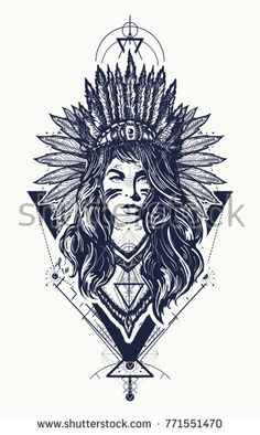 Tribal indian woman tattoo and t-shirt design. Young woman in costume of american indian vector ethnic art. Indian Women Tattoo, Cherokee Indian Tattoos, Indian Girl Tattoos, Indian Tattoo Design, Native American Tattoos, Natur Tattoos, Kunst Tattoos, Body Art Tattoos, Tattoo Art