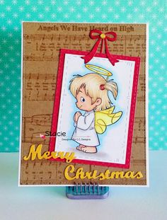 Praying  Twila )C.C. Designs Oct release); Make a Card #10 Christmas Dies; Angel Background Stamp; Merry Christmas Enamel Dots