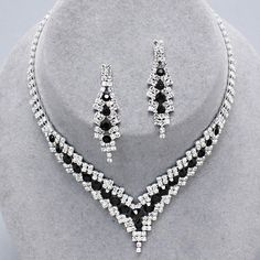 Jet Black Crystal Rhinestone Formal Wedding Bridal Prom Party Pageant Bridesmaid Evening V Necklace Earrings Set Elegant Costume Jewelry