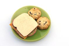 "Ham, Cheese and Lettuce Sandwich with Two Chocolate Chip Cookies and Optional Drink - Food for American Girl dolls and other 18"" dolls"