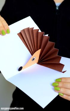 Hedgehog Pop Up Card Paper Craft for Kids #craftsforkids