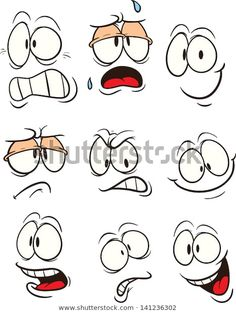 Cartoon faces with different expressions. Vector clip art illustration with simple gradients. All in a single layer. Cartoon faces with different expressions. Vector clip art illustration with simple gradients. All in a single layer. Cartoon Eyes, Cartoon Clip, Angry Cartoon, Happy Faces Cartoon, Cartoon Smile, Girl Cartoon, Rock Painting Designs, Rock Crafts, Art And Illustration