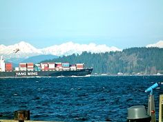 Cargo Ship leaving Elliot Bay Seattle...
