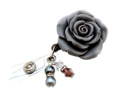 Rose Badge Holder,Badge Reel,Rhinestones Badge Holder,Gray rose ID Holder,Retractable badge holder,Big and Flashy Badge Holder on Etsy, $15.00