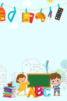 Children future world changes drawings for kid Kids Background, Poster Background Design, Cartoon Background, Background Templates, Kindergarten Posters, Kindergarten Pictures, School Border, Cartoon Trees, School Cartoon