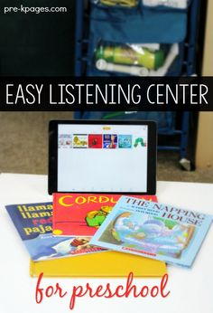 iPad Listening Center in Preschool - Pre-K Pages How to Set Up an Easy Listening Center in the Classroom. Say goodbye to fast forward and rewind. No more changing tapes or CD's. Set up an independent listening center in minutes with a single iPad! Kindergarten Centers, Preschool Literacy, Preschool Books, Free Preschool, Kindergarten Classroom, Kindergarten Listening Center, Classroom Setup, Preschool Ideas, Listening Station