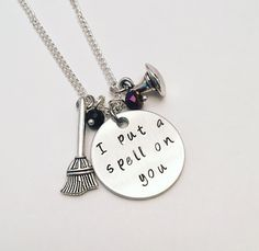 I Put a Spell on You Hocus Pocus Disney Winifred Sarah Mary Sanderson Halloween Inspired Hand Stamped Dangle Charm Necklace #hocuspocus #winifred #sarah #mary #sandersonsisters #halloween inspired #disney #disneychannel #stamped #charmnecklace