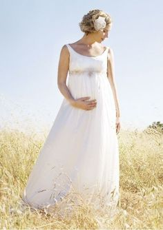 Chiffon scoop neckline sleeveless appliques empire style maternity Wedding Dress