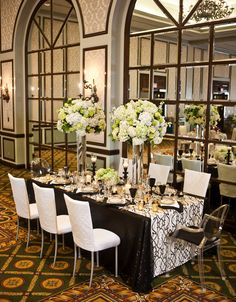 Luxury black and white wedding reception decor.