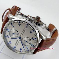 Parnis watch 43mm Power reserve White dial brown leather strap deployant clasp Automatic movement