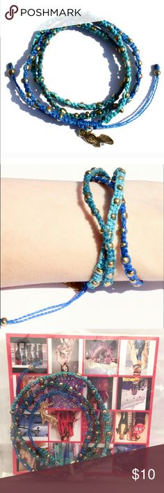 "⚡️CLEARANCE⚡️Ketzali Blue Boho Handmade Bracelet ⚡️CLEARANCE⚡️Ketzali Wachinik Boho Handmade Bracelet ""3in1"" in Blue, Aquamarine & Turquoise with Bronze Metal Beads. Each bracelet has a different animal charm.    26"" round, 100% Waxed Polyester Thread & Metal Beads.  These bracelets are handmade by skilled artisans in Guatemala.  Each bracelet is made with care and dedicated skill and is one of a kind!! NO TRADES Free Beauty Sample With Purchase  105906 Ketzali Jewelry Bracelets"