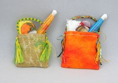Miniature handmade beach bags.  www.colnedollhouseshop.co.uk