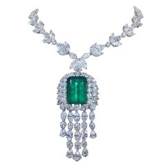 Rare 20.98 carat GIA certified Colombian Emerald and Diamond Necklace | From a unique collection of vintage drop necklaces at http://www.1stdibs.com/necklaces/drop-necklaces/