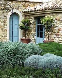 Love the use of the dusty French Blue against the natural stone (similar to our existing exterior - gorgeous! Beautiful Gardens, Beautiful Homes, Landscape Design, Garden Design, Home And Garden Store, Mediterranean Garden, Stone Houses, Garden Inspiration, Exterior Design