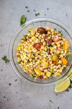 This summery grilled corn and chickpea salad makes a light and fresh side dish with only a handful of ingredients. Vegan friendly!