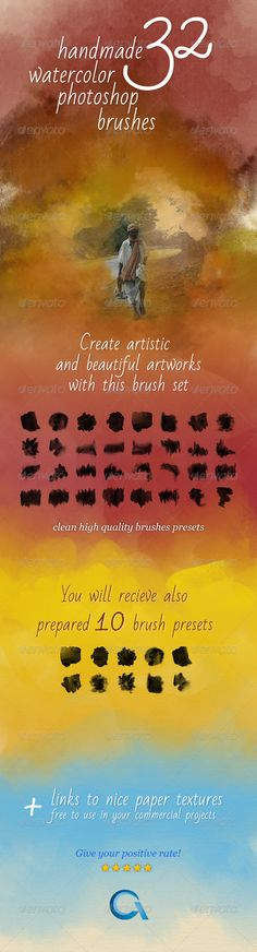 32 Watercolor Artistic Brushes - Photoshop Brushes • Download ➝…