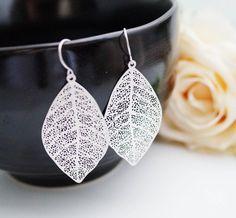 Modern Jewelry Modern Earrings Matte rodium plated Leaf