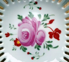 Items similar to AW August Warnecke hand-painted perforated candy plate with a pink rose - East Friesland pink rose /Ostfriesische Rose on Etsy Pink Rose Flower, Tea Time, German, Hand Painted, Plates, Candy, Tattoo, Flowers, Pattern
