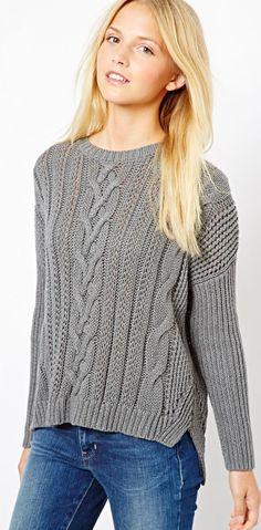 Asos - gray aran sweater