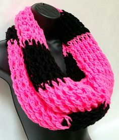 Crochet Infinity Scarf Pink and Black by Africancrab on Etsy, $25.00