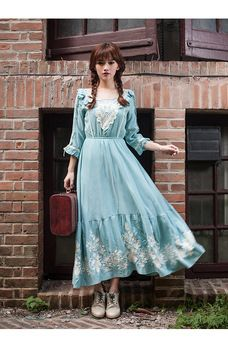 2015 New Downton Abbey Vintage Sweet Princess Lolita Mercerized Cotton  Embroidered Full Women Blue Dress. Visit site to buy. 4f686ec68474
