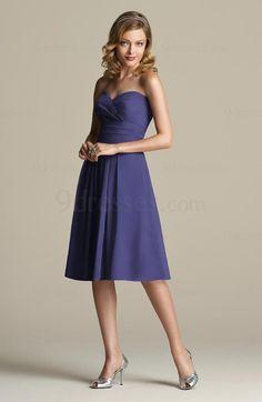 Elegant Sweetheart Zip up Pleated A-line Knee Length Bridesmaid Dress