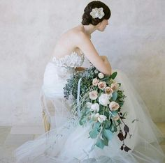 Ultra Romantic Arm Sheaf/Presentation Bridal Bouquet Of: Neutral & White Roses, Florals, + Several Varieties Of Greenery/Foliage