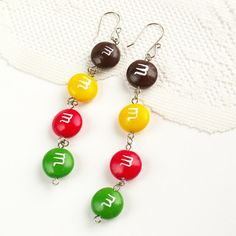 M Candy Charm Earrings  color jewelry  unique by Nechegonadet, $34.00