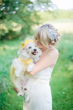 Beautiful. A must have photo taken for all those dog lover brides.  #wedding #love #weddingideas #pets #petsinweddings #mustlovedogs