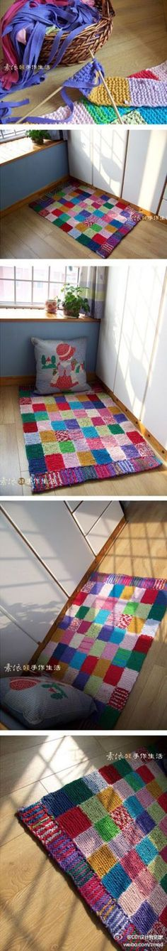 site is not in English but this shows an awesome idea of up-cycling old knits into a knitted rug! LOVE IT