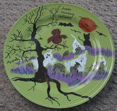 11 inch Green Painted Plate for Halloween decor by pamelastocker1, $10.00