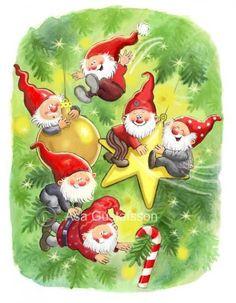 God Jul - merry christmas in swedish - Åsa Gustafsson illustrations Swedish Christmas, Christmas Gnome, Scandinavian Christmas, Vintage Christmas, Christmas Holidays, Christmas Crafts, Merry Christmas, Christmas Decorations, Christmas Ornaments