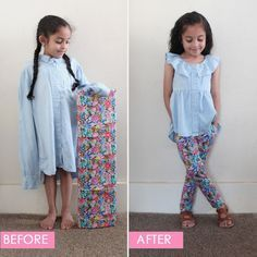 Candice Ayala's Upcycling Challenge 2018 Entry - Kindermode Ideen Sewing For Kids, Baby Sewing, Sewing Diy, Diy Clothing, Sewing Clothes, Children Clothing, Blog Couture, Shirt Refashion, Diy Dress