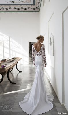 riki dalal 2015 valencia wedding dresses filigree lace long sleeves v neck embroidered bodice elegant sheath wedding gown v low back