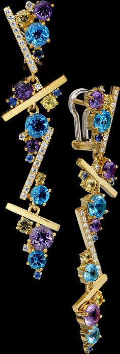Master Exclusive Jewellery, ear pendants from Kaleidoscope collection, 18K gold, Diamond, Sapphire; Amethyst and Topaz