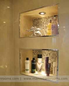 decorative bathroom alcove storage