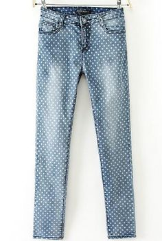 Blue Polka Dot Bleached Pencil Pant 24.67