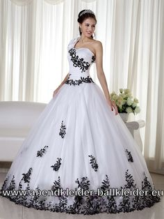 One Shoulder Stickereien Sissi Kleid Ballkleid Brautkleid Weiss