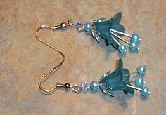 Teal Bell Flower Earrings by GlorysJewelryChest on Etsy, $6.99