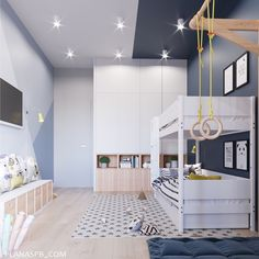 Trendy Home Gym Kids Playrooms Ideas Kids Bedroom Designs, Kids Room Design, Modern Bedroom, Bedroom Decor, Ideas Dormitorios, Deco Kids, Cool Kids Rooms, Teenage Room, Trendy Home
