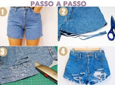 Passo a passo Diy Clothes Makeover, Diy Clothes Tutorial, Diy Clothes Refashion, Denim Skirt, Jean Shorts, Teen Jeans, Diy Summer Clothes, Diy Clothes Videos, Old Sweater