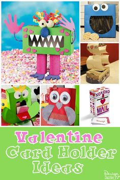 The most adorable Valentine Card Holder Ideas! Your child will love helping make them and then proudly take them to school! So cute!