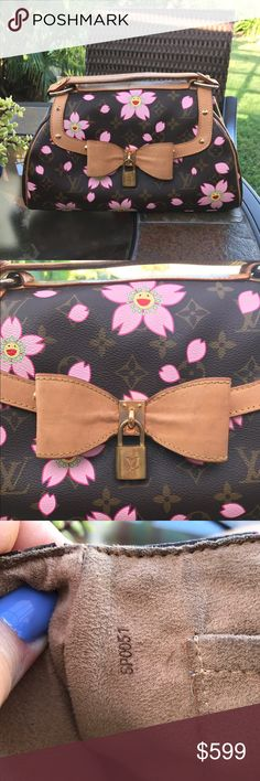 "AUTHENTIC LOUIS VUITTON CHERRY BLOSSOM SAC RETRO Takashi Murakami Collection. Louis Vuitton Cherry Blossom Sac Retro w/ brass hardware, tan vachetta leather trim featuring yellow contrast stitching & stud embellishments, single flat top handle, beige Alcantara lining, single pocket at interior wall & snap closure at front flap. Date code reads SP0051. Doesn't include clochette, lock & keys Handle Drop: 5"" Height: 8.5"" Width: 11.25"" Depth: 3.5"" In good condition. Minor markings…"