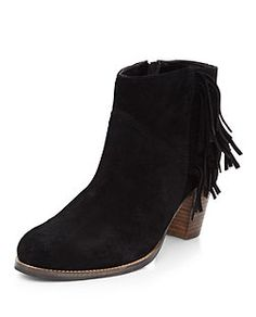 Black Suede Fringed Side Ankle Boots  | New Look