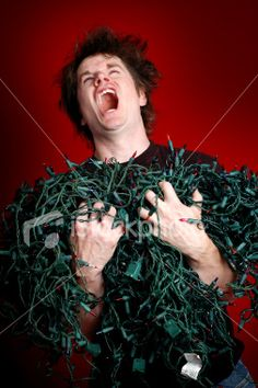 I'm pretty sure that's an evil laugh, not frustration.  Frustrated Man with Pile of Tangled Christmas Lights Royalty Free Stock Photo
