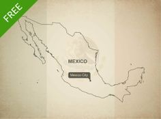Free download of Mexico outline vector map. Royalty free high resolution JPEG and vector format (layered, editable, AI, EPS and PDF).
