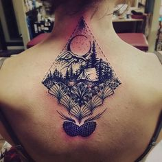 etched camping and nature-scenery tattoo #Tattoos #Female #back                                                                                                                                                                                 More