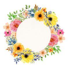 aquarelle vintage printemps floral cadre