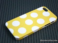 IPHONE 5 CASE , case for iPhone 5 , iPhone case - Yellow background polka dot pattern
